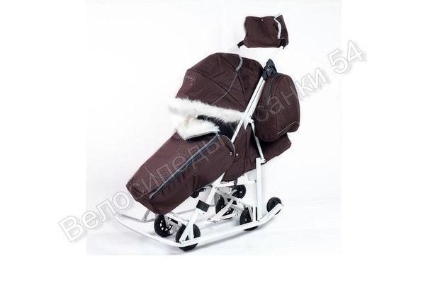 Санки-коляска Pikate Snowman коричневый