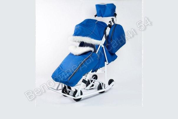 Санки-коляска Pikate Snowman синий