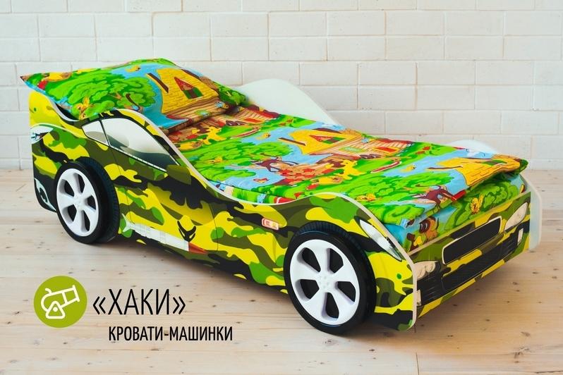 Детская кровать-машина -Хаки-2