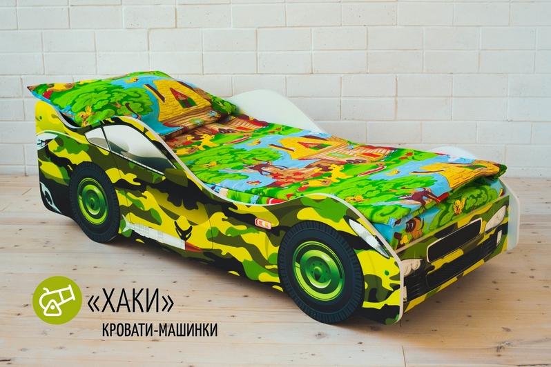 Детская кровать-машина -Хаки-3