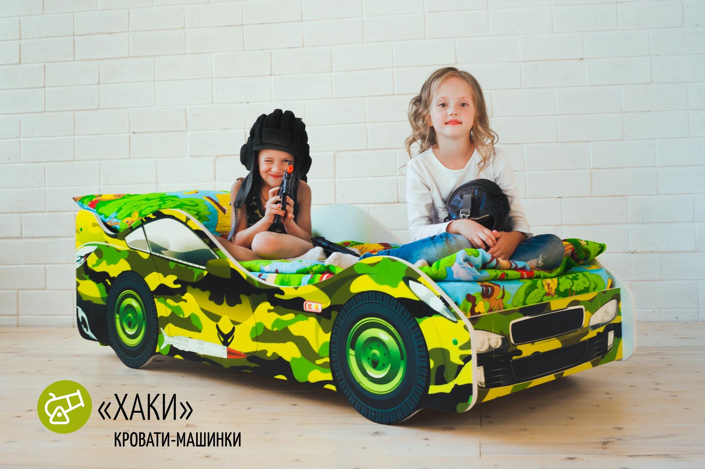 Детская кровать-машина -Хаки-5