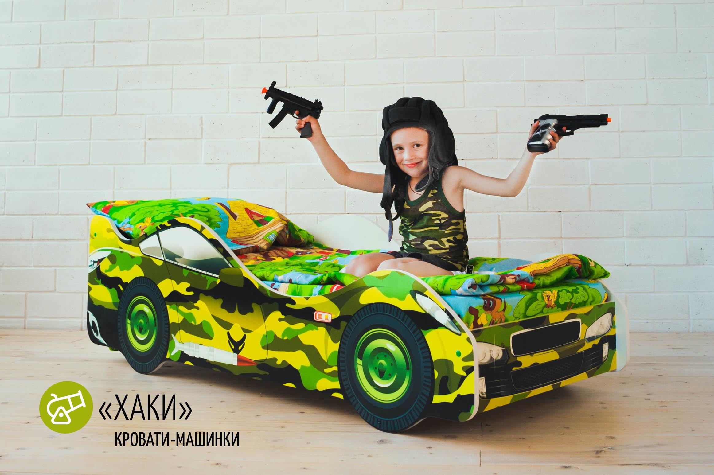 Детская кровать-машина -Хаки-7