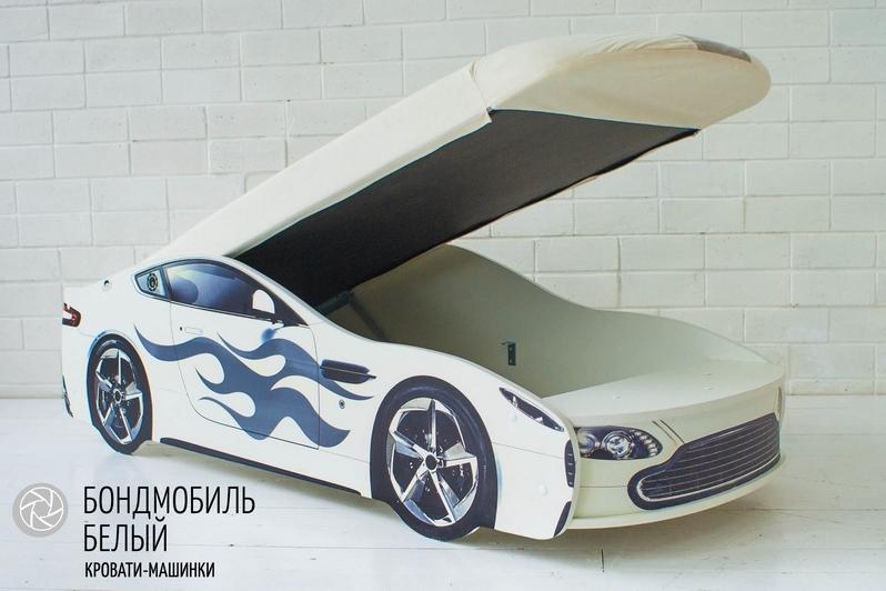 Детская кровать-машина белый -Бондмобиль- 3