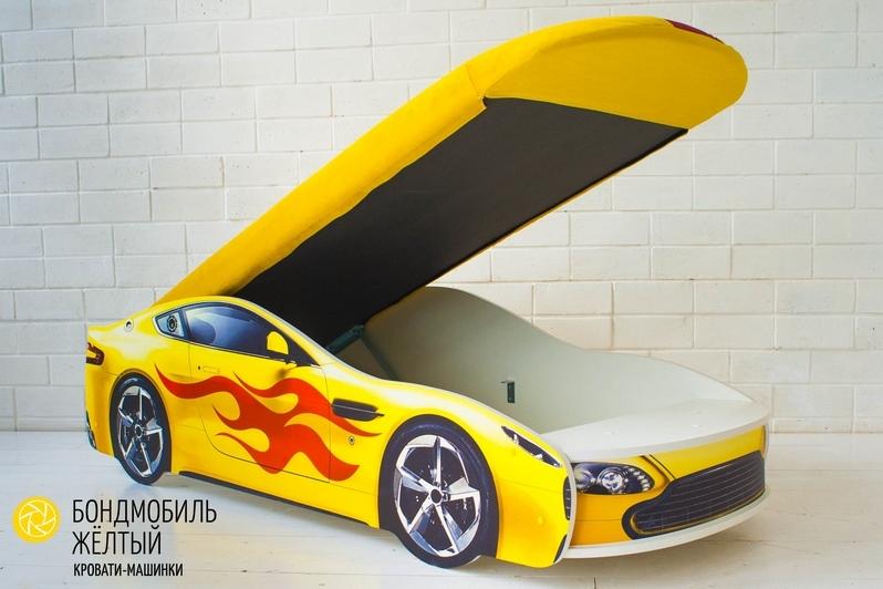 Детская кровать-машина желтый -Бондмобиль- 5