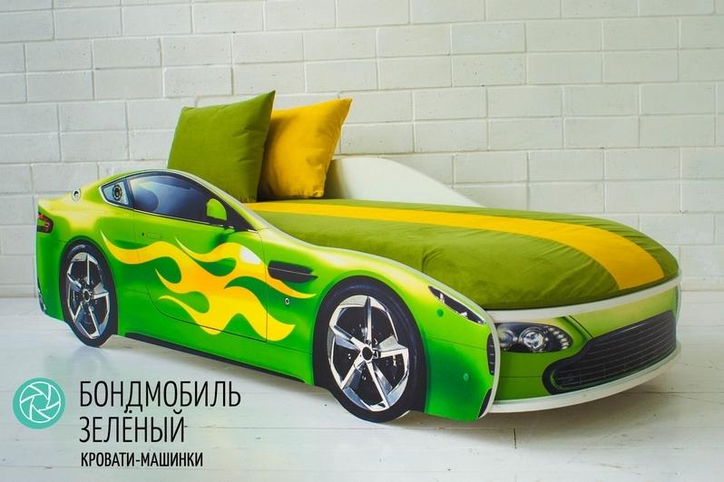 Детская кровать-машина зеленый -Бондмобиль-2