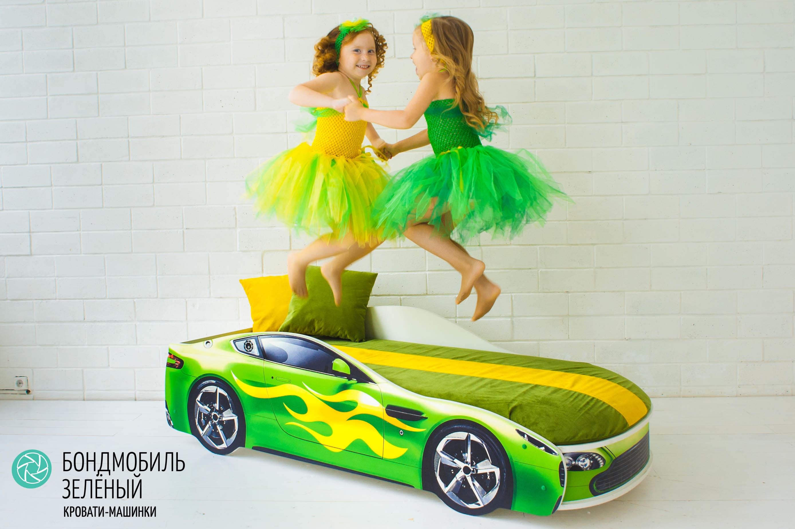 Детская кровать-машина зеленый -Бондмобиль-6