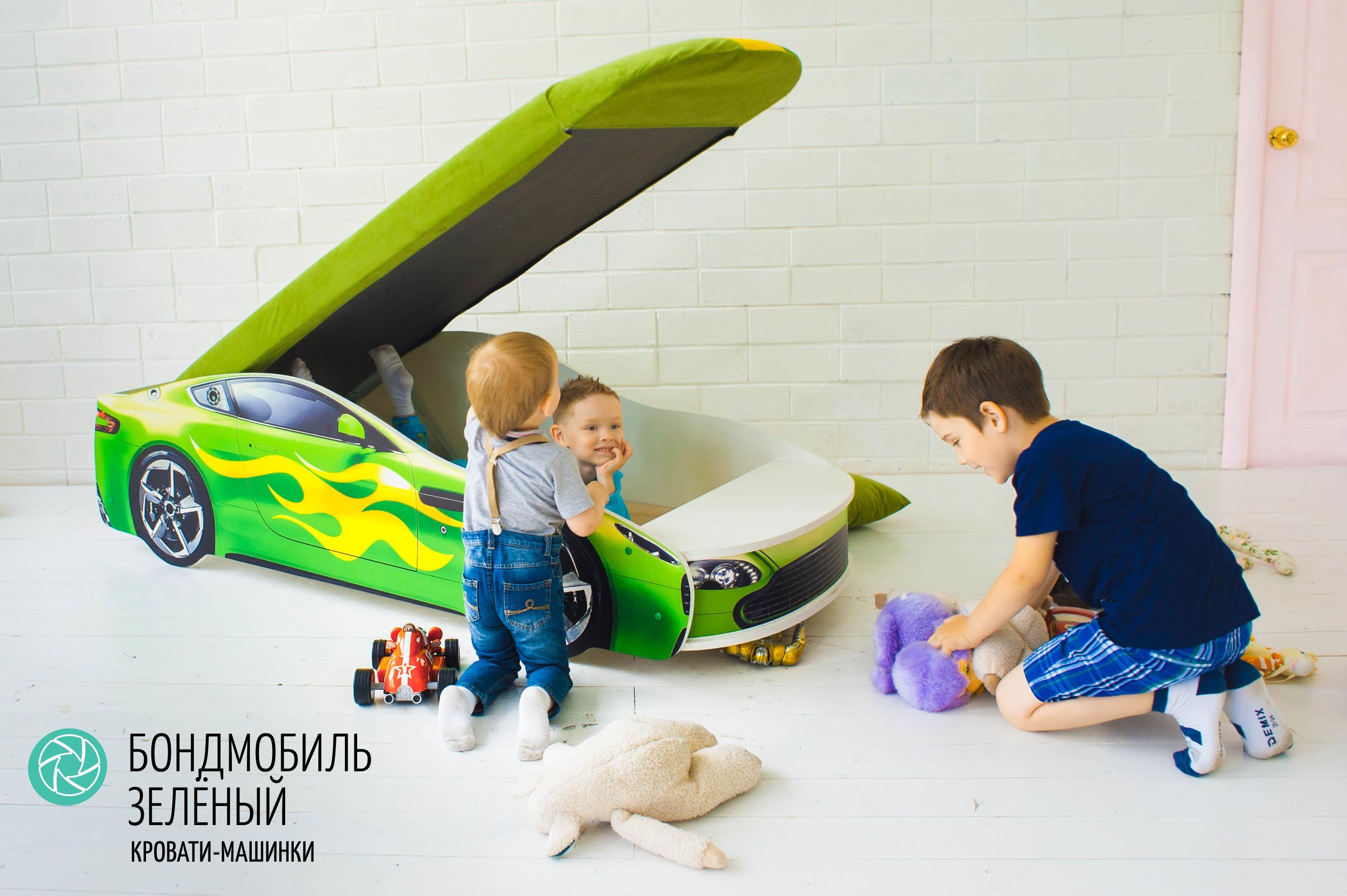 Детская кровать-машина зеленый -Бондмобиль-8
