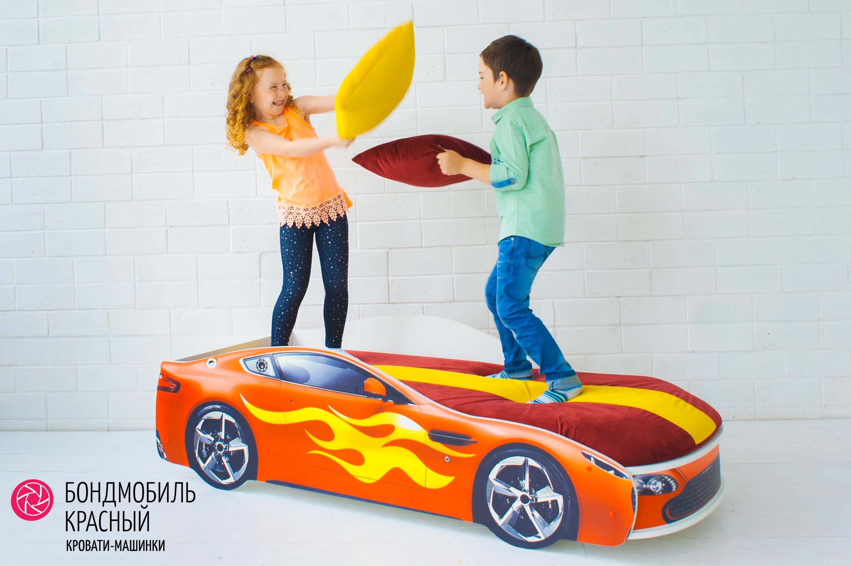 Детская кровать-машина красный -Бондмобиль-13